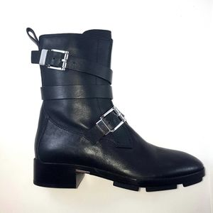 Alexander Wang Buckle Strap Leather Boots 37 7B